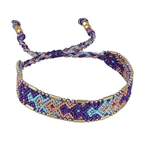 KELITCH Handmade Makramee Farbe Bonbon Breit Boho Gewebt Freundschaft Armband Mode Neu Schmuck (Lila)