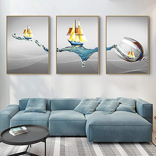 LZASMMVP Moderno Minimalista Vela Copa de Vino Arte Lienzo Pinturas Pared imágenes artísticas para decoración de Sala de Estar50x70cmx3 Piezas sin Marco