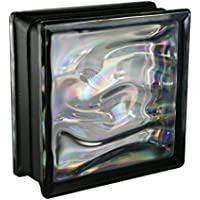 6 piezas BM bloques de vidrio AGUA perla negro 19x19x8 cm