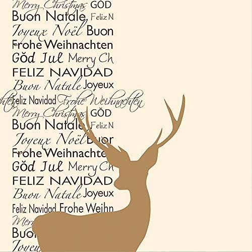 HANTERMANN Servietten Weihnachten Hirsch Gold Premium AIRLAID STOFFÄHNLICH | 25 Stück | 40 x 40cm | 1/4 Falz | hochwertige, edle Weihnachtsservietten | Weihnachtsdeko | Made in Germany