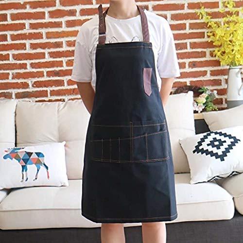 WEWE Canvas Apron, Effen kleur Anti-fouling Verstelbare Twee Grote Zakken Voor Koken Chef Schoonmaken Schilderij Art Cafe Bloemen Training Restaurant Bib