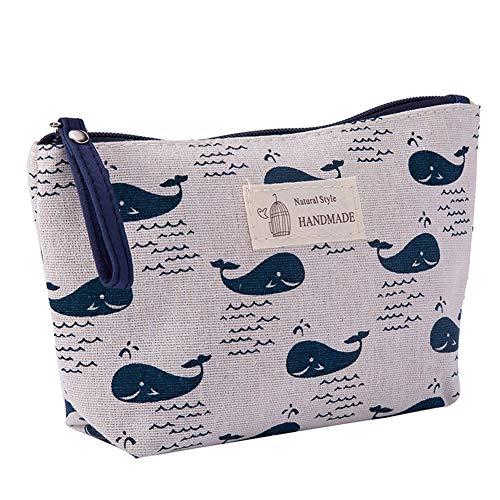 Kanggest. Imprimiendo Bolsa de Almacenamiento de cosméticos de Algodón y Lino Celosía Bolso de cosméticos Impermeable Cosmetic Bag Pack para Mujer Monedero(3) ⭐