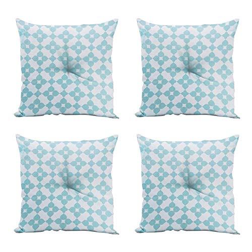 domarex Tuinstoelkussen, zitkussen, 4-delige set, 40x40 cm, binnen en buiten, vierkant, sierkussen, binnen en buiten, zachte stoelkussen, voor buiten en fauteuils, tuinstoelkussens blauw