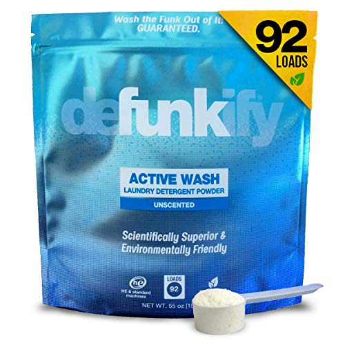 Defunkify Active Wash Laundry Detergent Powder, Sustainable, Plant-Based and Eco-Friendly, Active Wear Odor and Stain Remover, Free and Clear, Unscented and Safe for All Ages - 55 oz (92 Loads)