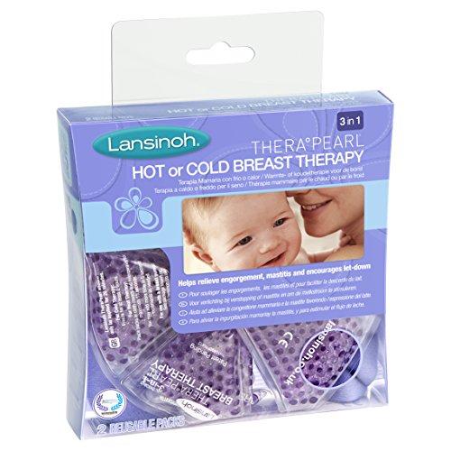 Lansinoh Terapia de Frío / Calor para el Pecho, TheraPearl 3 en 1. Para la mastitis, pechos congestionados y ayuda a la estimulación de la salida de la leche materna. 2 unidades con funda lavable ✅
