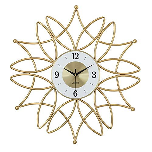 Creative Wall Clock, Indoor Silent hangklok, Nordic stijl ijzeren decoratieve Klokken Battery Operated Makkelijk te lezen for Indoor Decor, Golden