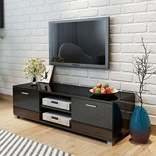 Tidyard Mesa para TV Diseño Moderno Aparador para TV Mueble TV Salón Mesa Televisión Mueble Comedor Televisor Bajo con 2 Repisas 2 Compartimientos con Puertas MDF Negro Brillante 140x40,3x34,7cm