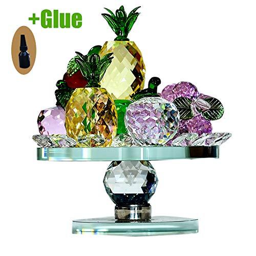 Grande Cristal Frutas Figura Peso De Papel con Base De Cristal Y Tipos De Fruta para La Decoración del Hogar Comedor-Vistoso 9x18cm(4x7inch)