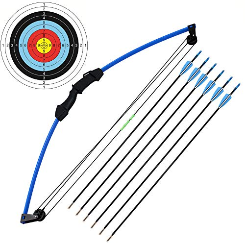 kaimei 35' Junior Compound Bow and Arrow Archery Set Outdoor Sports Game Hunting Toy Gift Bow Kit Set with 6 Arrows 18 Lb for Kids Children Teens Youth -U