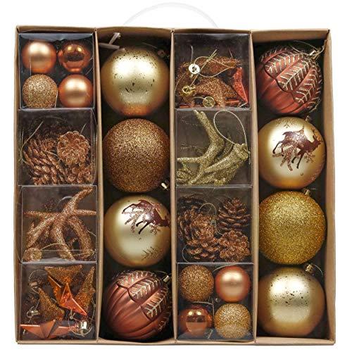 VALERY MADELYN 60Pcs Bolas de Navidad de 3-5cm, Adornos de Navidad para Arbol, Decoración Navideños Plástico de Cobre Dorado y Azul, Regalos de Colgantes de Navidad (Bosque)