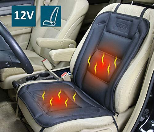ObboMed SH-4160 12V Beheizbare Sitzauflage Sitzkissen mit Rückenstützung und extra sichere Befestigung - Optional Vertikal oder Horizontal, Deluxe Model mit Premium Zigarettenanzünderstecker; Schwarz