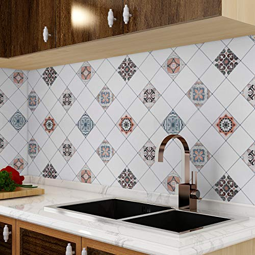 Homease Selbstklebende Fliesenaufkleber, Küche Dekor Tapete, Mosaik Stil PVC wasserdichter Wandaufkleber, 500x60cm Fliesenfolie für Küche Backsplash, Badezimmer Wand, Treppenaufkleber