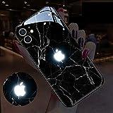 アイフォンケーススマホ IPhone 保護カバー 12 Pro Max耐衝撃強化ガラス LEDフラッシュ通知着信光る薄型スリム,IPhone12