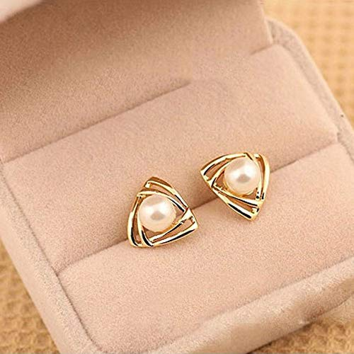 Stud Earrings For Woman,Fashion Pearl Hollow Triangle Earring Stainless Steel Stud Earrings For Summer Accessories Birthday Jewelry Gift Men Girls