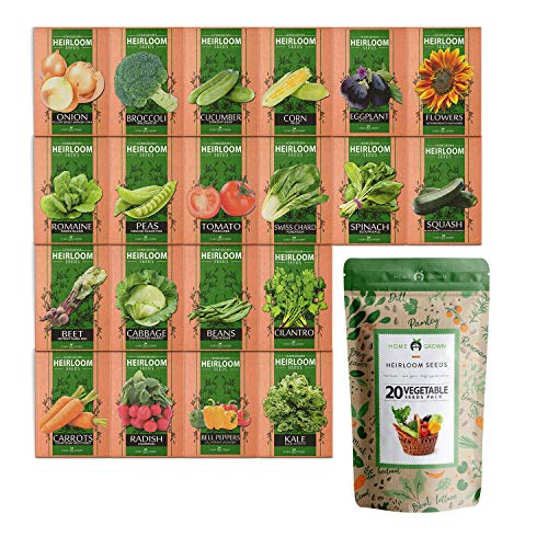 Heirloom Vegetable Seeds - Non GMO Vegetable Seeds for Planting Home Garden, Beans, Carrots, Peppers, Cucumber, Kale, Pepper Seeds, Tomato Seeds and More Garden Seeds Variety Pack (20 Vegetables)