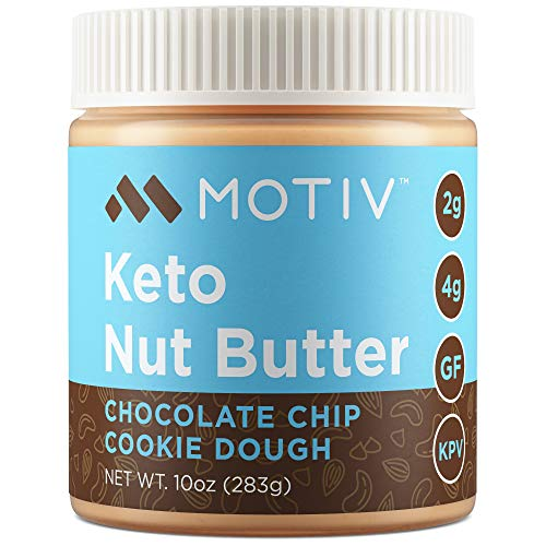 MOTIV Keto Nut Butter - Low Carb Almond Cashew Butter - Chocolate Chip Cookie Dough - Natural Unsweetened No Sugar Added - Low Calorie, Healthy, Diabetic & Keto Friendly