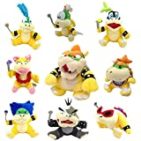 One Set of 9 Super Mario Bros Plush Toy King Bowser Baby Bowser Jr Kids Koopalings Koopa Larry Iggy Lemmy Roy Ludwig Wendy Morton by Generic