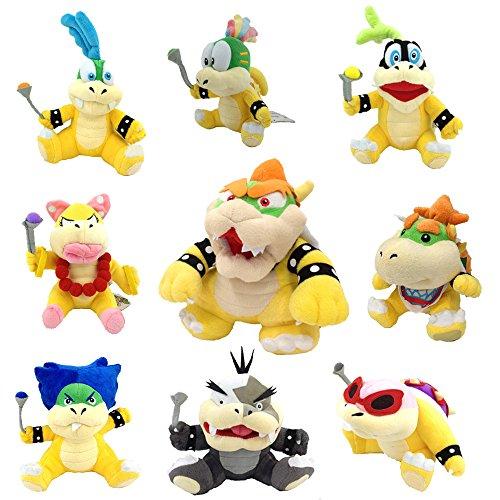 Yijinbo Super Mario Bros Koopalings - Peluche de Rey Bowser Lemmy Larry Roy Wendy O. Morton Larry Iggy Baby Bowser