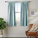 Amazon Basics Room Darkening Blackout Window Curtains with Tie Backs Set - 52 x 63-Inch, Seafoam Green, 2 Panels