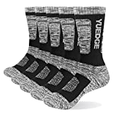 YUEDGE Men's 5Pairs/Pack Performance Cotton Moisture Wicking Sports Hiking Workout Training Cushion Crew Socks