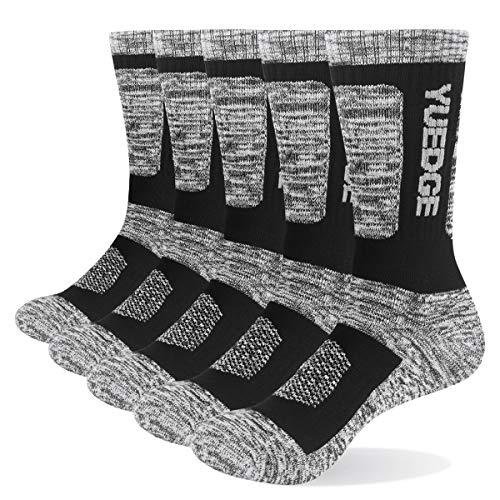 YUEDGE Men's 5Pairs/Pack Performance Cotton Moisture Wicking Sports Hiking Workout Training Cushion Crew Socks (Black, Shoe Size 11-13)