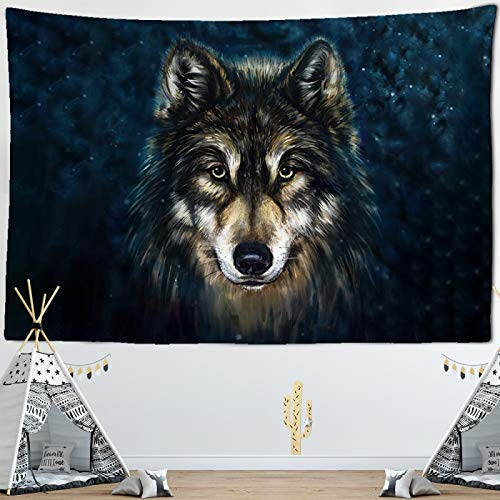 letaowl Tapiz con mirada de lobo y animales santos tapiz tribal para colgar en la pared, tapiz para decoración del hogar, textil de 280 x 182 cm cmyk181