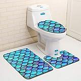 MANNUOSI Nuevo Alfombrillas de baño Suave Antideslizante alfombras de baño Escala de Pescado 3 Piezas Alfombra de Contorno en Forma de U y Cubierta del Asiento del Inodoro