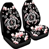Aoopistc 2 Piece Set Hawaiian Car Seat Cover Fashion Tribal Blue Sea Turtles Tropical Hibiscus Flower Hawaii Compatible Vehicle Bucket Seat Cover for Car Ocean Front Auto Interior Protector Car Mat