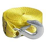 CarBole Correa de remolque resistente, 5 cm x 6 m, color amarillo para remolque, correa de repuesto con gancho a presión para Jetski, Wave Runner y remolque.