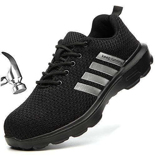 [Aoop] 安全靴 作業靴 おしゃれ スニーカー メーズ 鋼先芯(JIS H級相当) KEVLARミッドソール ワークシューズ 軽量 通気 セフティーシューズ 耐滑 クッション 安全スポーツシューズ 男性 1125/ブラック/39
