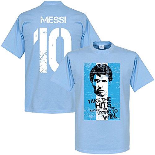 Messi 10 Argentina Flag T-Shirt - hellblau - L