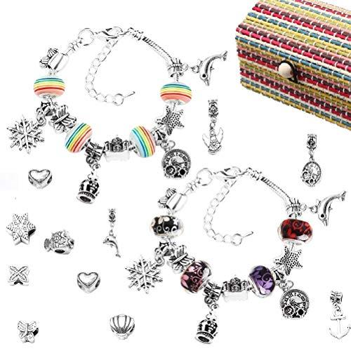 nuoshen Charm Bracelet Making Set for Girls,Silver Plated Bead Snake Chain...