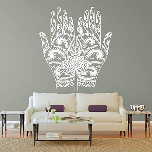 LSMYM Yoga HandFlower Mandala Wall Room Decor Art Vinyl Sticker Mural Decal Palm pattern Wall Stickers blanco 57X89cm