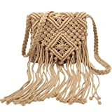 Abuyall - Bolsa de hombro para mujer, diseño de flecos bohemios, color Marrón, talla Small