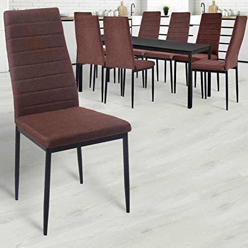 MIADOMODO - Juego de 2 sillas de Comedor de 4 6 8 Unidades, Acolchadas, Funda de Tela, Metal, Respaldo Alto, Color a Elegir (marrón, Gris Claro, Gris Oscuro)