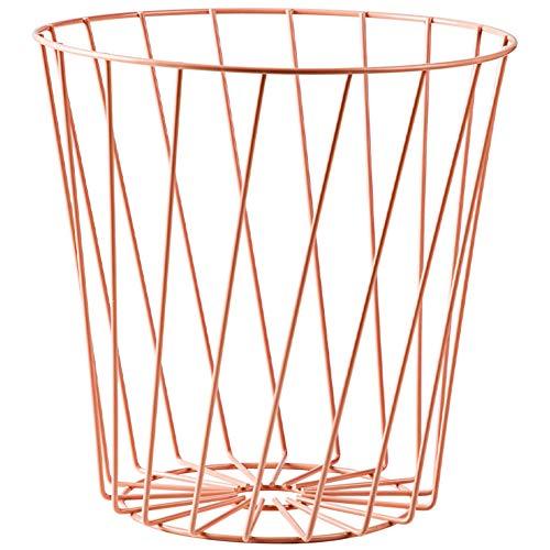 Papelera de papel de hierro 10L, Papelera redonda de metal con diseño hueco para el hogar y la oficina, Cesto de basura superior abierto para la sala de estar del dormitorio-Pink