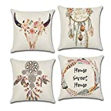 WEAGO Set of 4 Decorative Throw Pillow Covers 18x18 Inch for Farmhouse,Cushion Cover Pillowcase for Sofa Couch Bedroom Car Office,Dream Catcher Theme Boho Decor Pillow Cover -Cotton Linen,Square