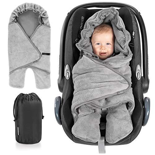 Zamboo Baby Wikkeldeken Lente & Zomer met Voeten voor Autostoel, Kinderwagen, Ledikant, Box - Babydeken met Capuchon, Klittenband en Opbergtas - Licht Inbakerdoek voor Baby's - Grijs