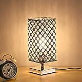 Lámpara de mesita de noche de cristal cromado decorativa moderna cuadrada, luz de escritorio de mesita de noche cuadrada de plata cristalina