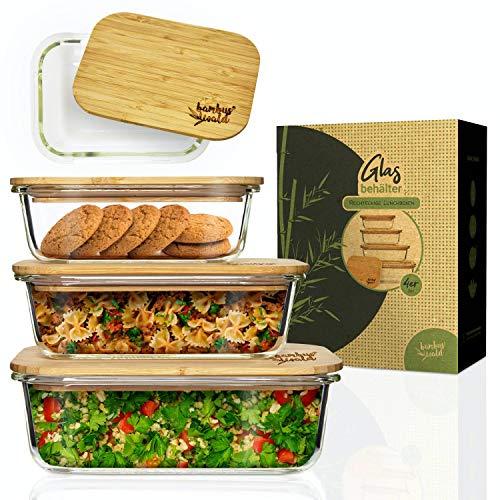 bambuswald© 3er Set Rechteckige Glasbox 370ml 640ml 1040ml - Auflaufform Ofenform Lasagneform Glas Aufbewahrung Frischhaltedose Backofen Mikrowelle