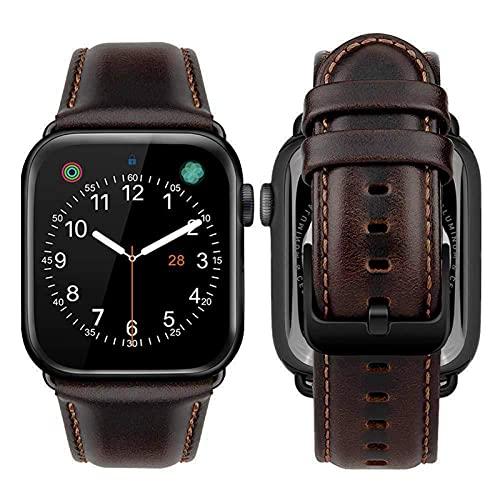 KAEGREEL Correas compatibles con la Correa de Reloj de Apple 44 mm 42 mm, Correa de Reloj de Cuero Compatible con iWatch Series SE 6 5 4 3 2 1,42mm/44mm