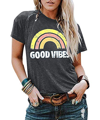 JINTING Good Vibes Graphic Tee Shirt for Women Teen Girls Graphic Short Sleeve Casual T Shirt Top with Funny Sayings Gray