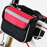 QIUBD Bolsas para El Manillar?Bolsa De Ciclismo Tubo Frontal Marco Teléfono Impermeable Bolsas De Bicicleta Rectángulo Bolsa Soporte De Marco Accesorios De Bicicleta (Red)