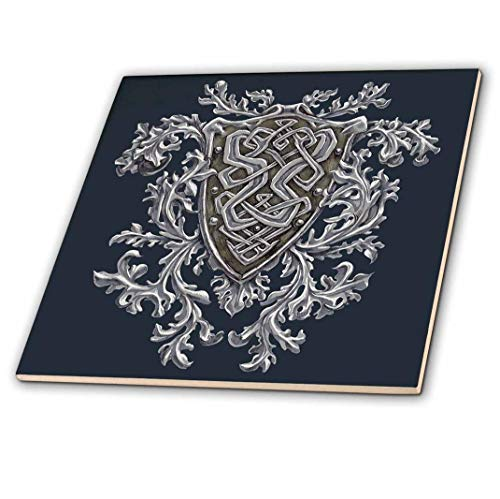 3dRose ct_280165_1 Crest with Heraldic Decorative Patterns-Celtic Knots Ceramic Tiles, 4'