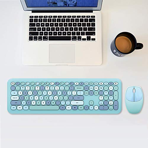 AOXING Wireless Keyboard and Mouse Combo - Wireless Gaming Keyboard, 2.4GHZ Retro Full Size with Number Pad and Cute Wireless Mouse for Computer PC Laptop Notebook Mac Windows (BU)