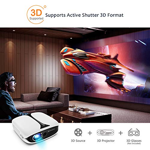 VANKYO Burger 101 Pico Projector, Rechargeable DLP Wireless Mini Projector Supports 1080P and 3D with HDMI, USB, Compatible with iPhone, Android, Laptop for Home Entertainment, Outdoor Movies