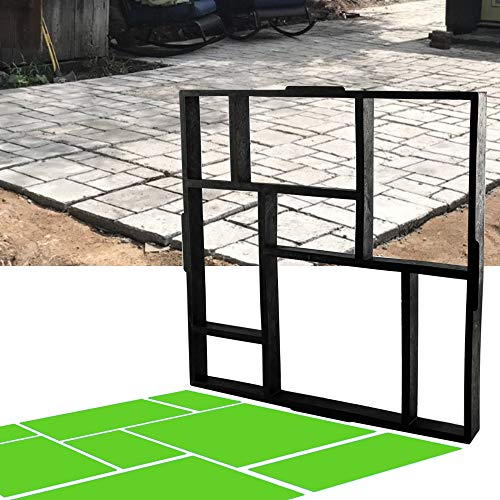 "CJGQ 20""x20""x1.8"" Plus Size Walk Maker Reusable Concrete Path Maker Molds Stepping Stone Paver Lawn Patio Yard Garden DIY Walkway Pavement Paving Moulds (8-Grid)…"