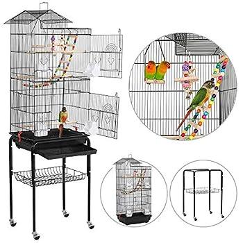Yaheetech Cage Oiseaux sur Roulettes Volière avec Echelles Jouets pour Perruche Calopsittes Inséparables Mandarins Canaris 46 x 35,5 x 158,5 cm