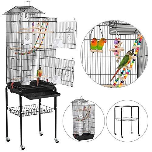Yaheetech Cage Oiseaux Portable Poignée Volière avec Toit Équipé 3 Perchoir en Bois 4 Mangeoires 3 Jouets et 1 Swing 46 x 36 x 159 cm (Noir)