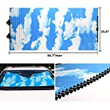 Retractable Windshield Sun Shade for Car, Honeycomb Sun Visor Protector Blocks 99% UV Rays to Keep Your Vehicle Cool, Cordless Cellular Sunshade Fits Various Models with 3 Suction Cups 25.6'x56.7'max